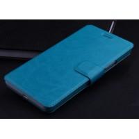 Чехол горизонтальная книжка подставка на пластиковой основе с отсеком для карт на магнитной защелке для Lenovo A536 Ideaphone  Голубой