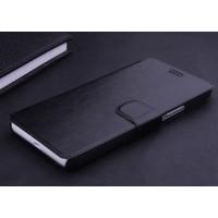 Чехол горизонтальная книжка подставка на пластиковой основе с отсеком для карт на магнитной защелке для Lenovo A536 Ideaphone  Черный