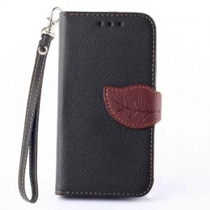 Чехол портмоне подставка на силиконовой основе на дизайнерской магнитной защелке для Samsung Galaxy Core 2 Черный