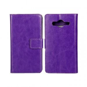 Глянцевый водоотталкивающий чехол портмоне подставка на пластиковой основе на магнитной защелке для Samsung Galaxy Core 2 Фиолетовый