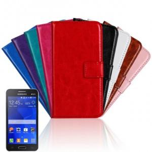 Глянцевый водоотталкивающий чехол портмоне подставка на пластиковой основе на магнитной защелке для Samsung Galaxy Core 2