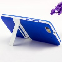 Двухкомпонентный силиконовый матовый непрозрачный чехол с поликарбонатными вставками с встроенной ножкой-подставкой для Huawei Honor 4C Синий