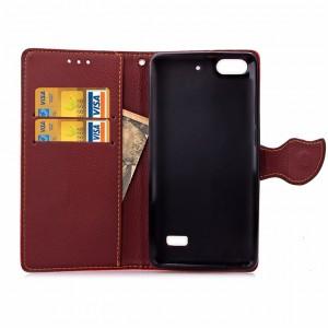 Чехол портмоне подставка на силиконовой основе на дизайнерской магнитной защелке для Huawei Honor 4C  Розовый