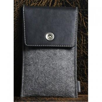Войлочный мешок с кожаной отделкой и отсеком для карт для Samsung Galaxy S6 Edge