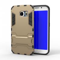Противоударный двухкомпонентный силиконовый матовый непрозрачный чехол с поликарбонатными вставками экстрим защиты с встроенной ножкой-подставкой для Samsung Galaxy S6 Edge Бежевый
