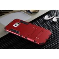 Противоударный двухкомпонентный силиконовый матовый непрозрачный чехол с поликарбонатными вставками экстрим защиты с встроенной ножкой-подставкой для Samsung Galaxy S6 Edge Красный