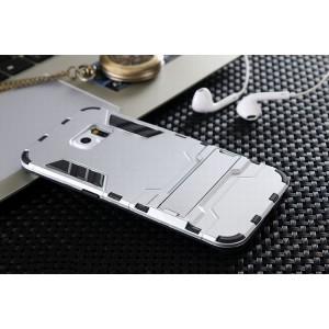 Противоударный двухкомпонентный силиконовый матовый непрозрачный чехол с поликарбонатными вставками экстрим защиты с встроенной ножкой-подставкой для Samsung Galaxy S6 Edge Белый