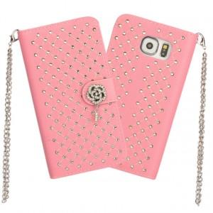 Чехол портмоне подставка текстура Точки на пластиковой основе на дизайнерской магнитной защелке для Samsung Galaxy S6 Edge  Розовый