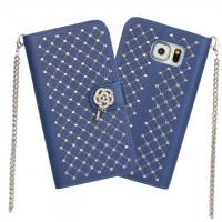 Чехол портмоне подставка текстура Точки на пластиковой основе на дизайнерской магнитной защелке для Samsung Galaxy S6 Edge  Синий
