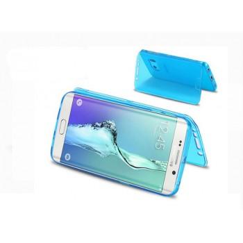Двухкомпонентный силиконовый матовый полупрозрачный чехол горизонтальная книжка с акриловой полноразмерной транспарентной смарт крышкой для Samsung Galaxy S6 Edge