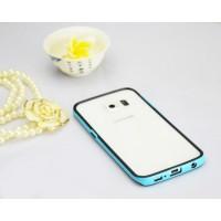 Двухкомпонентный силиконовый матовый непрозрачный чехол с поликарбонатным бампером для Samsung Galaxy S6 Edge  Голубой