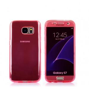 Двухкомпонентный силиконовый матовый полупрозрачный чехол горизонтальная книжка с акриловой полноразмерной транспарентной смарт крышкой для Samsung Galaxy S7 Красный