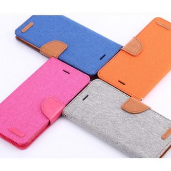 Чехол портмоне подставка на силиконовой основе с тканевым покрытием на дизайнерской магнитной защелке для Samsung Galaxy S7