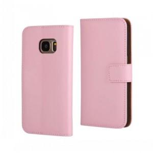 Чехол портмоне подставка на пластиковой основе на магнитной защелке для Samsung Galaxy S7 Розовый