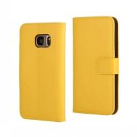 Чехол портмоне подставка на пластиковой основе на магнитной защелке для Samsung Galaxy S7 Желтый