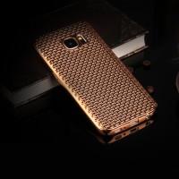 Силиконовый матовый непрозрачный чехол с текстурным покрытием Металлик для Samsung Galaxy S7 Бежевый
