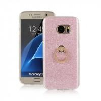 Силиконовый матовый полупрозрачный чехол с встроенной ножкой-подставкой и текстурным покрытием Узоры для Samsung Galaxy S7 Розовый