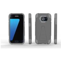 Противоударный двухкомпонентный силиконовый матовый непрозрачный чехол с поликарбонатными вставками экстрим защиты с встроенной ножкой-подставкой для Samsung Galaxy S7 Серый