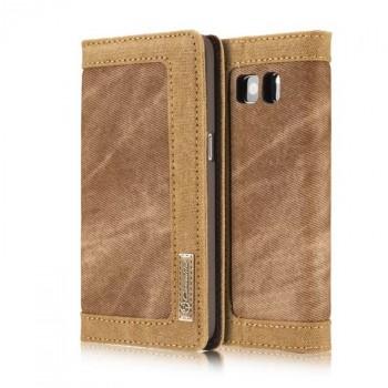 Чехол портмоне подставка на пластиковой основе с тканевым покрытием для Samsung Galaxy S7