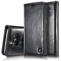 Вощеный чехол горизонтальная книжка подставка на пластиковой основе с отсеком для карт для Samsung Galaxy S7  Черный