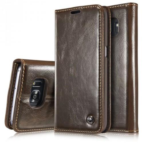 Вощеный чехол горизонтальная книжка подставка на пластиковой основе с отсеком для карт для Samsung Galaxy S7