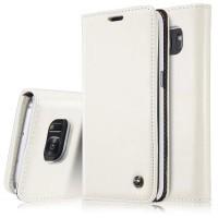 Вощеный чехол горизонтальная книжка подставка на пластиковой основе с отсеком для карт для Samsung Galaxy S7  Белый