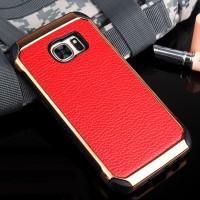 Противоударный двухкомпонентный силиконовый матовый непрозрачный чехол с поликарбонатными вставками и текстурным покрытием Кожа для Samsung Galaxy S7 Красный