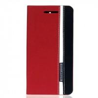 Чехол горизонтальная книжка подставка текстура Линии на силиконовой основе с отсеком для карт для ASUS ZenFone Go 4.5  Красный