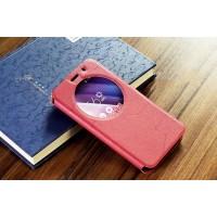 Чехол горизонтальная книжка подставка текстура Линии на силиконовой основе с окном вызова на магнитной защелке для ASUS Zenfone Go 5.5/Go TV Красный