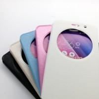 Чехол горизонтальная книжка подставка на силиконовой основе с окном вызова на магнитной защелке для ASUS Zenfone Go 5.5/Go TV