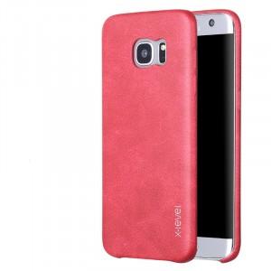 Чехол накладка текстурная отделка Кожа для Samsung Galaxy S7 Edge  Красный