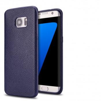 Силиконовый матовый непрозрачный чехол с текстурным покрытием Кожа для Samsung Galaxy S7 Edge