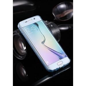 Двухкомпонентный силиконовый матовый полупрозрачный чехол горизонтальная книжка с акриловой полноразмерной транспарентной смарт крышкой для Samsung Galaxy S7 Edge Голубой