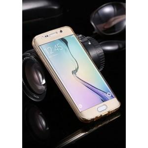 Двухкомпонентный силиконовый матовый полупрозрачный чехол горизонтальная книжка с акриловой полноразмерной транспарентной смарт крышкой для Samsung Galaxy S7 Edge Бежевый