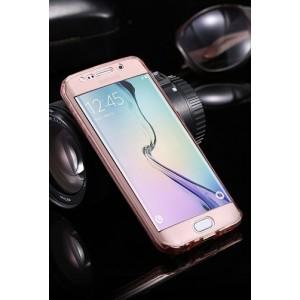 Двухкомпонентный силиконовый матовый полупрозрачный чехол горизонтальная книжка с акриловой полноразмерной транспарентной смарт крышкой для Samsung Galaxy S7 Edge Розовый