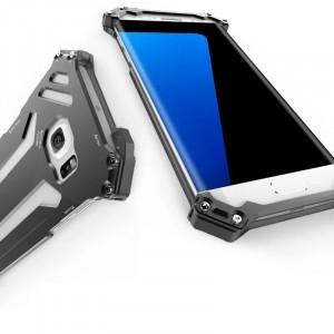 Цельнометаллический противоударный чехол из авиационного алюминия на винтах с мягкой внутренней защитной прослойкой для гаджета с прямым доступом к разъемам для Samsung Galaxy S7 Edge