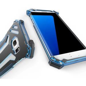 Цельнометаллический противоударный чехол из авиационного алюминия на винтах с мягкой внутренней защитной прослойкой для гаджета с прямым доступом к разъемам для Samsung Galaxy S7 Edge Синий