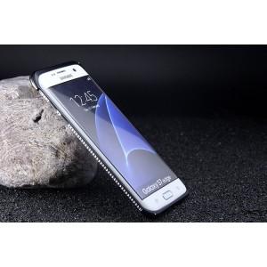 Металлический округлый премиум бампер на пряжке со встроенной подставкой для Samsung Galaxy S7 Edge  Серый