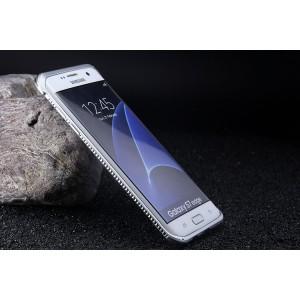 Металлический округлый премиум бампер на пряжке со встроенной подставкой для Samsung Galaxy S7 Edge
