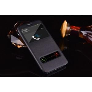 Кожаный чехол горизонтальная книжка подставка на пластиковой основе с окном вызова и свайпом для Samsung Galaxy S7 Edge