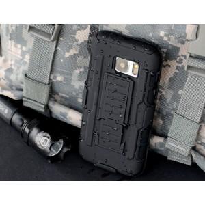 Противоударный двухкомпонентный силиконовый матовый непрозрачный чехол с поликарбонатными вставками, клипсой для ремня и встроенной ножкой-подставкой для Samsung Galaxy S7 Edge