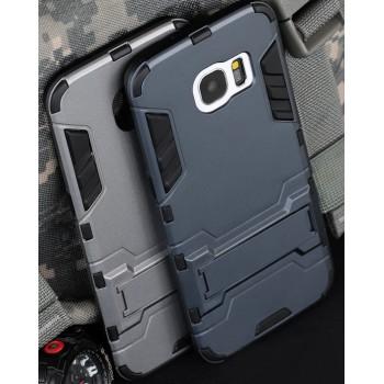 Противоударный двухкомпонентный силиконовый матовый непрозрачный чехол с поликарбонатными вставками экстрим защиты с встроенной ножкой-подставкой для Samsung Galaxy S7 Edge