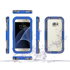 Пластиковый водостойкий полупрозрачный матовый чехол с улучшенной защитой элементов корпуса для Samsung Galaxy S7 Edge Синий