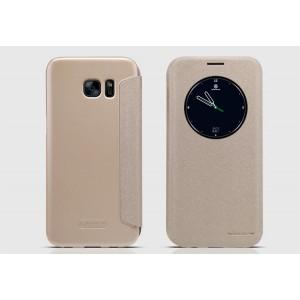 Чехол горизонтальная книжка на пластиковой нескользящей премиум основе с окном вызова для Samsung Galaxy S7 Edge