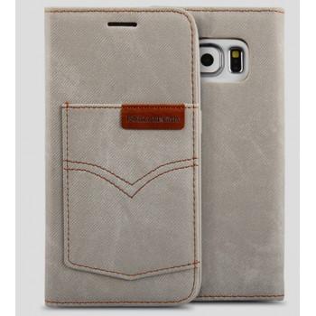 Чехол горизонтальная книжка подставка на силиконовой основе с отсеком для карт и тканевым покрытием для Samsung Galaxy S7 Edge