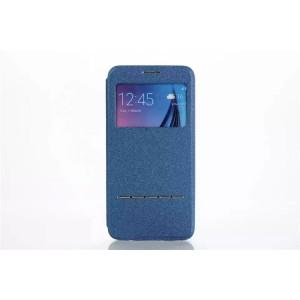 Чехол горизонтальная книжка подставка на силиконовой основе с окном вызова и полоcой свайпа для Samsung Galaxy S7 Edge Синий