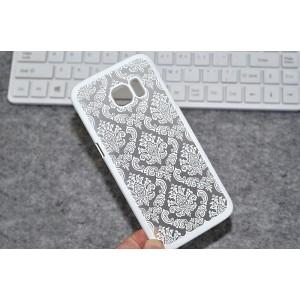 Пластиковый полупрозрачный матовый чехол с текстурным покрытием Узоры для Samsung Galaxy S7 Edge  Белый