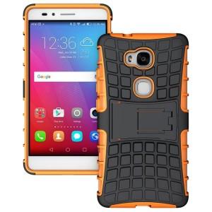 Противоударный двухкомпонентный силиконовый матовый непрозрачный чехол с поликарбонатными вставками экстрим защиты с встроенной ножкой-подставкой для Huawei Honor 5X  Оранжевый