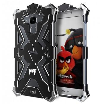Цельнометаллический противоударный чехол из авиационного алюминия на винтах с мягкой внутренней защитной прослойкой для гаджета с прямым доступом к разъемам для Huawei Honor 5X