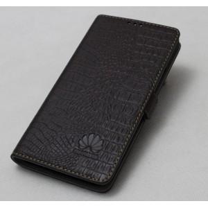 Кожаный чехол горизонтальная книжка подставка с отделкой Крокодил на пластиковой основе на магнитной защелке для Huawei Honor 5X  Коричневый